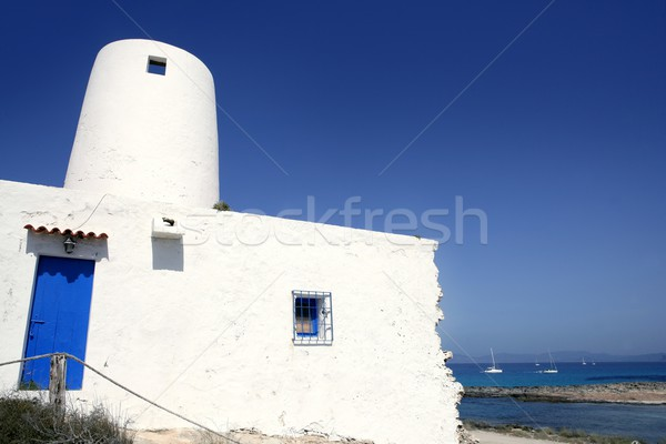 Balearic islands architecture white mill Stock photo © lunamarina