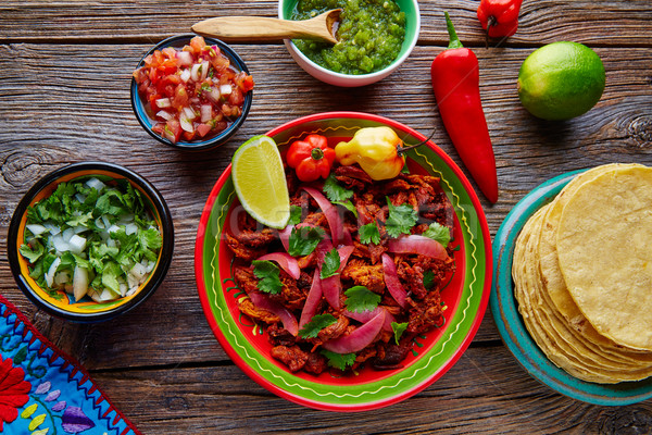 Mexikói étel vöröshagyma koriander fa kék Stock fotó © lunamarina