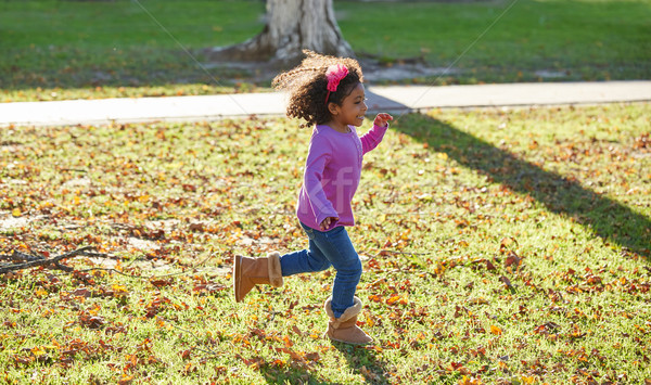 Stock photo: kid girl toddler playing running in park outdoor
