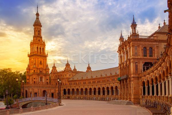 Seville Plaza de Espana sunset Andalusian Sevilla Stock photo © lunamarina