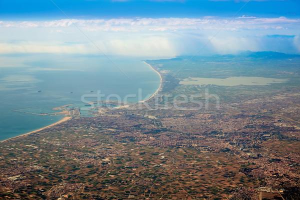 Valencia stad meer antenne Spanje middellandse zee Stockfoto © lunamarina
