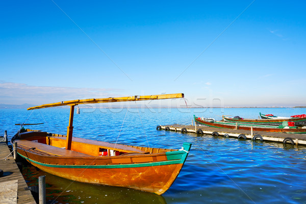 Valencia hajók tó Spanyolország víz fa Stock fotó © lunamarina