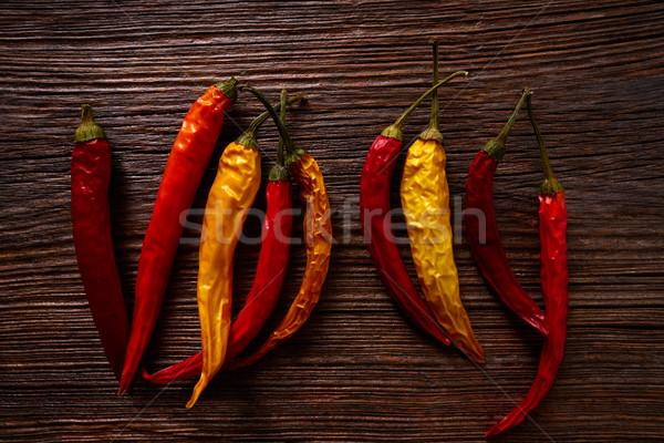 乾燥 熱 辣椒 木 水果 商業照片 © lunamarina