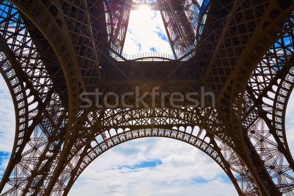 Eiffel-torony Párizs Franciaország égbolt város kék Stock fotó © lunamarina