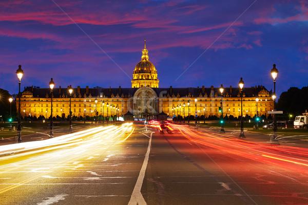 Les Invalides sunset facade in Paris France Stock photo © lunamarina