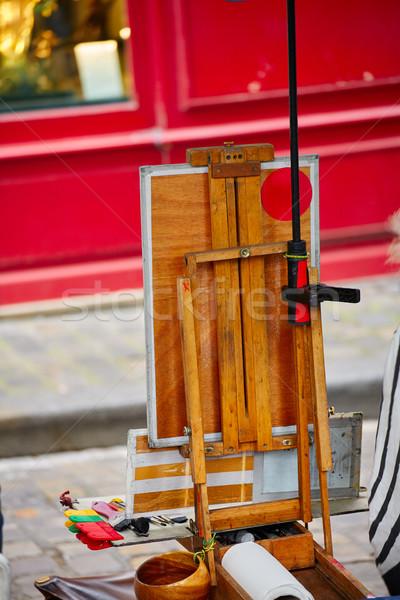 Монмартр место холст инструменты Франция здании Сток-фото © lunamarina