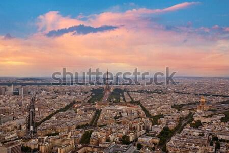 Eyfel Kulesi Paris gün batımı Fransa gökyüzü Stok fotoğraf © lunamarina