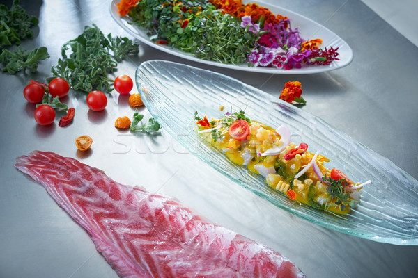 Ceviche dish preparation in restaurant kitchen Stock photo © lunamarina