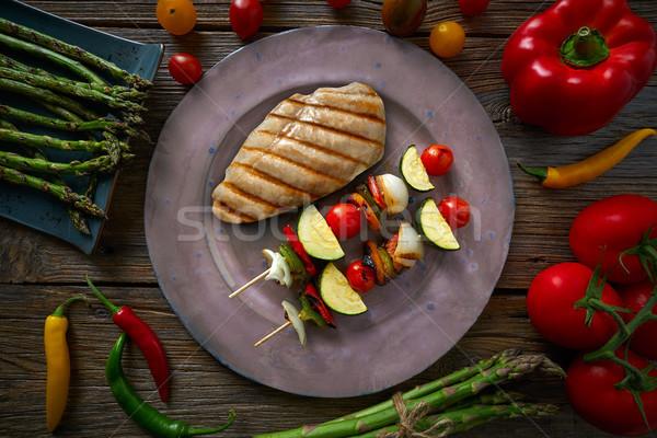 Gegrilde kip borst plantaardige grill asperges voedsel Stockfoto © lunamarina