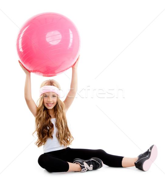çocuklar spor salonu yoga kız pilates pembe Stok fotoğraf © lunamarina