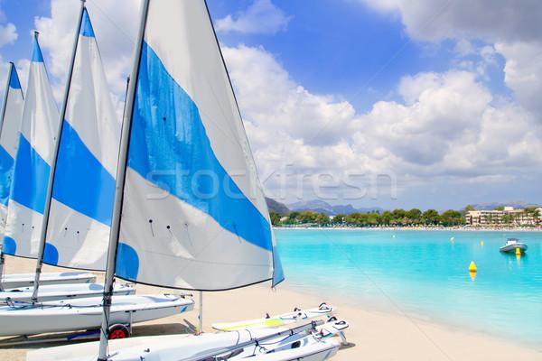Strand majorca weinig zeilboten wit zand sport Stockfoto © lunamarina
