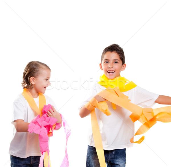 Twee kinderen kinderen partij kleurrijk papier Stockfoto © lunamarina