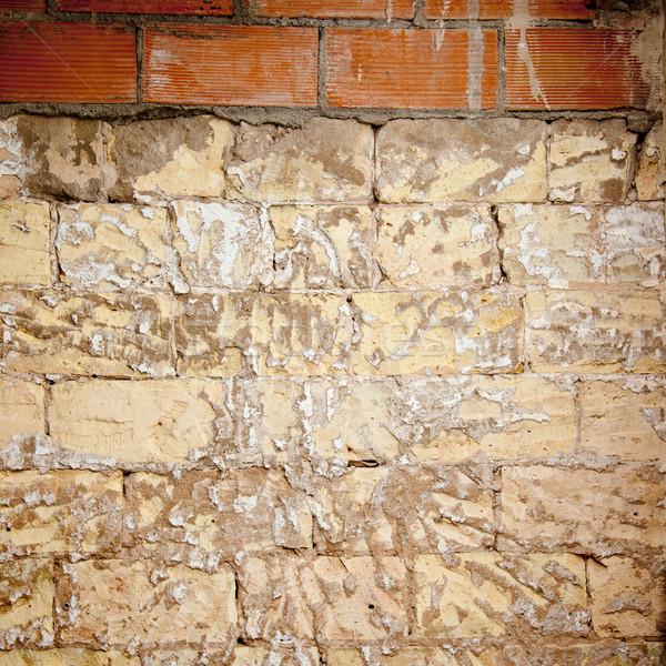 brick wall grunge scraped brickwall to restore Stock photo © lunamarina