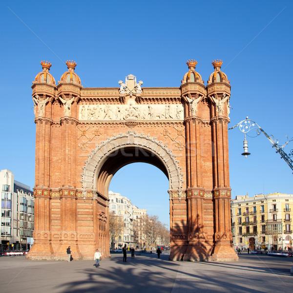 Barcelone triomphe arc arc ciel bâtiment Photo stock © lunamarina