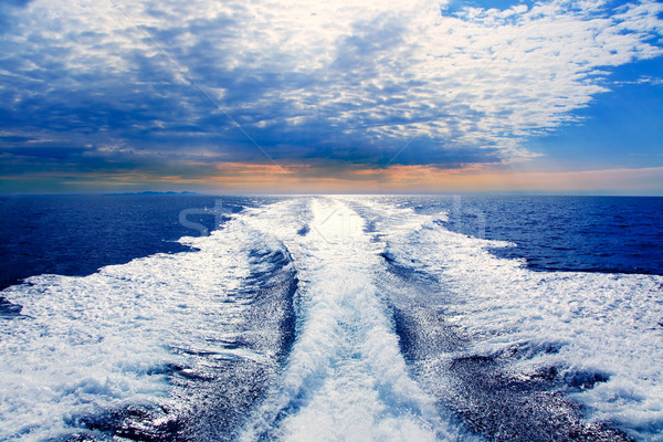 Blue sea with prop wash wake in Ibiza Island Stock photo © lunamarina