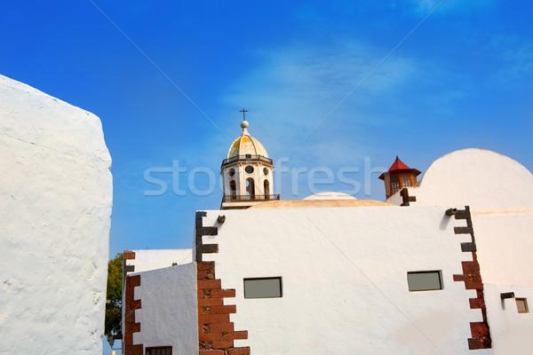 Lanzarote Teguise white village with church tower Stock photo © lunamarina