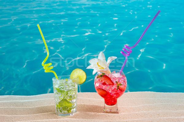 Mojito morango coquetel areia branca praia cocktails Foto stock © lunamarina