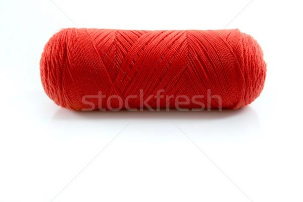 Stock fotó: Piros · fonál · cséve · izolált · fehér · stúdió