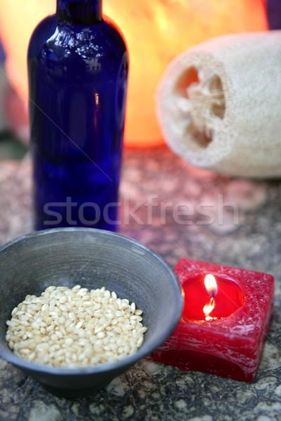 Aromatherapie rot Kerze marine natürlichen Schwamm Stock foto © lunamarina