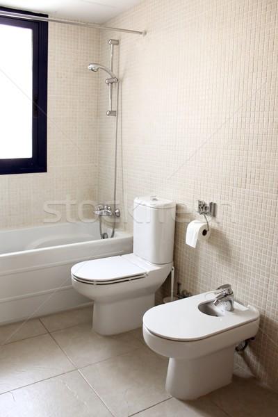 bathroom with bath toilet and bidet Stock photo © lunamarina