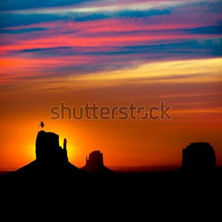 Stock photo: Sunrise at Monument Valley West and East Mittens Butte