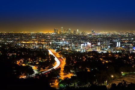 Downtown LA night Los Angeles sunset skyline California Stock photo © lunamarina