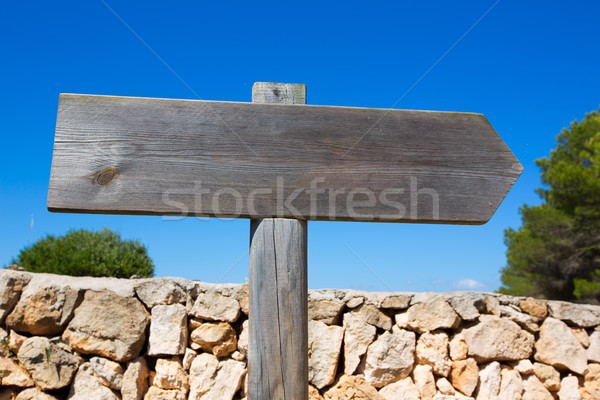 Wooden track blank road sign in Mediterranean Balearic Stock photo © lunamarina