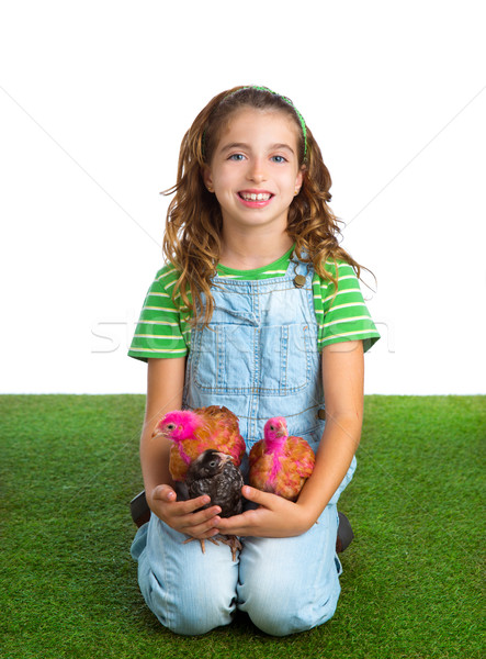 breeder hens kid girl rancher farmer hug chicken chick Stock photo © lunamarina