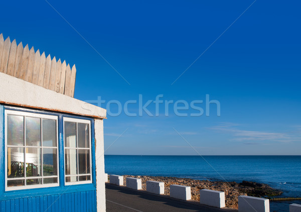 Denia Las Rotas blue house in Mediterranean sea Stock photo © lunamarina
