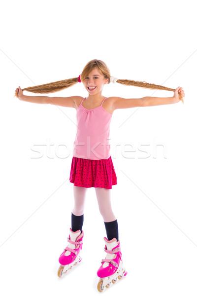 blond pigtails roller skate girl full length on white Stock photo © lunamarina
