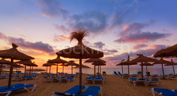 Mallorca nascer do sol praia Espanha céu Foto stock © lunamarina