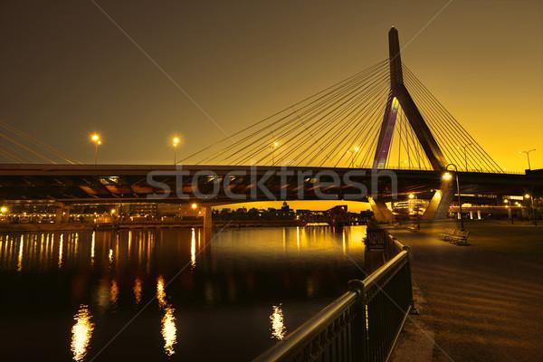 Boston Zakim bridge sunset in Massachusetts Stock photo © lunamarina
