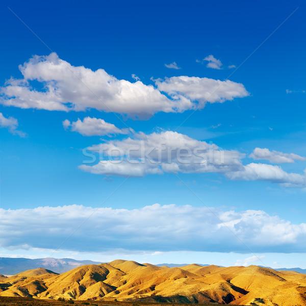 Pustyni góry Hiszpania Błękitne niebo dzień tle Zdjęcia stock © lunamarina