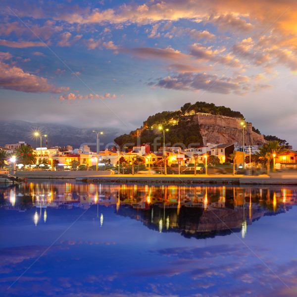 Denia port sunset in marina at Alicante Spain Stock photo © lunamarina