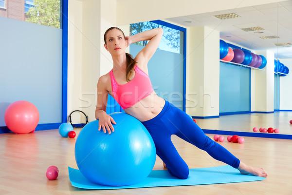Pilates kadın yan egzersiz antreman Stok fotoğraf © lunamarina