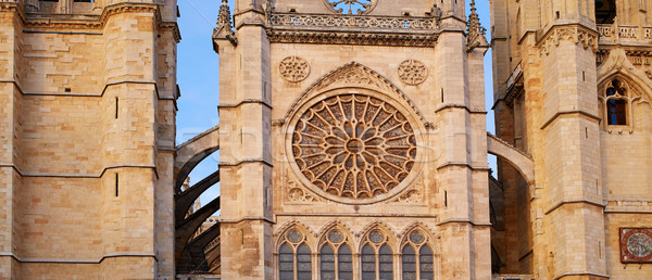 Stock photo: Cathedral of Leon gothic rosette in Castilla