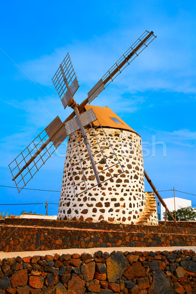 Lajares windmill Fuerteventura at Canary Islands Stock photo © lunamarina
