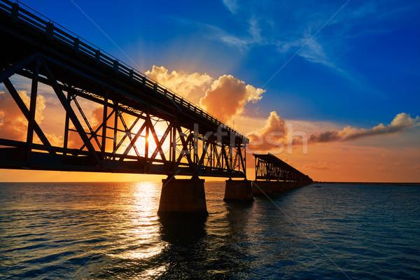 Florida kulcsok öreg híd naplemente park Stock fotó © lunamarina