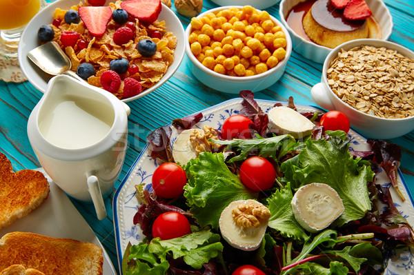Gezonde ontbijt salade granen continentaal ontwerp Stockfoto © lunamarina