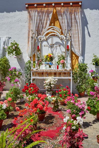 Monesterio religious flowers altar by via de la Plata Stock photo © lunamarina