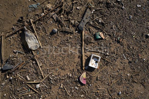 Szennyezés tengerparti homok part szemét tengerpart víz Stock fotó © lunamarina