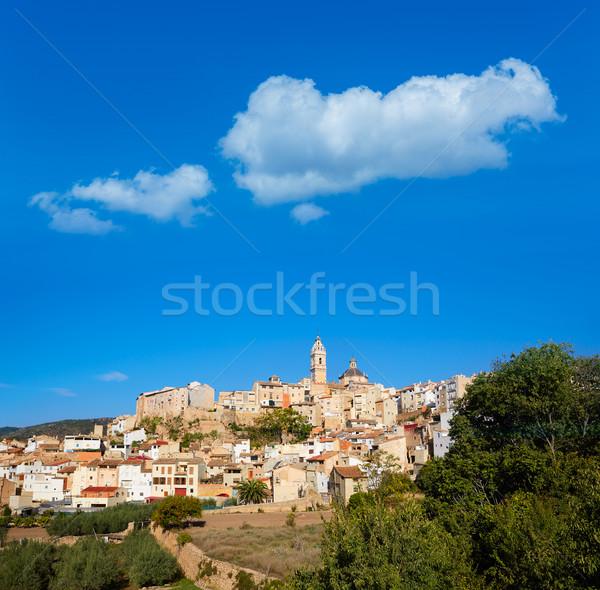 Falu sziluett Valencia Spanyolország égbolt tájkép Stock fotó © lunamarina