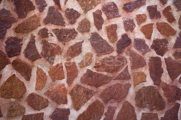 Kamieniarstwo mur czerwony biały domu budowy Zdjęcia stock © lunamarina