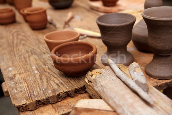 Stock photo: clay pottery potter handcrafts on vintage table