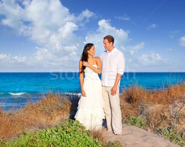 Zdjęcia stock: Para · miłości · plaży · morze · Śródziemne · wydma · morza