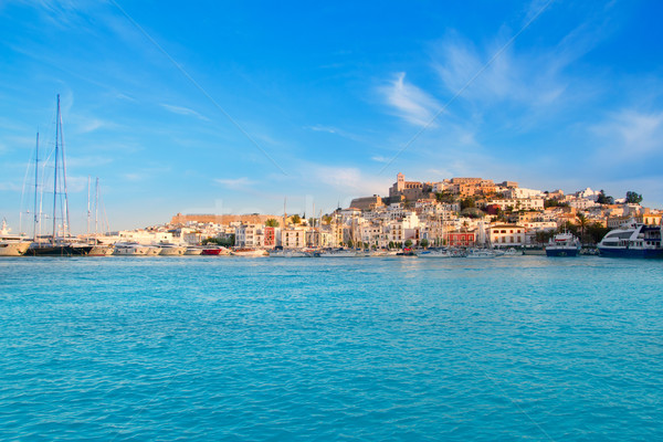 Ibiza Eivissa town with blue Mediterranean Stock photo © lunamarina