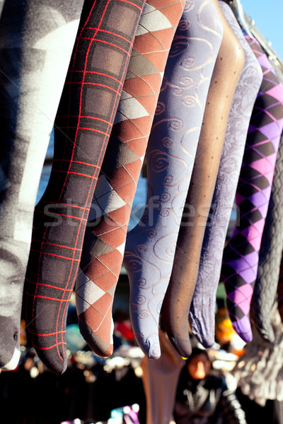 colorful tights in a row hanging in market Stock photo © lunamarina