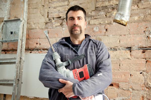 Demolición martillo hombre albañil manual trabajador Foto stock © lunamarina