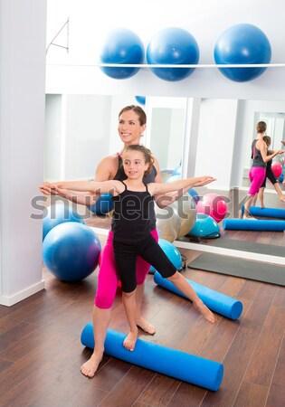 Labda fitnessz oktató nő aerobik tornaterem Stock fotó © lunamarina
