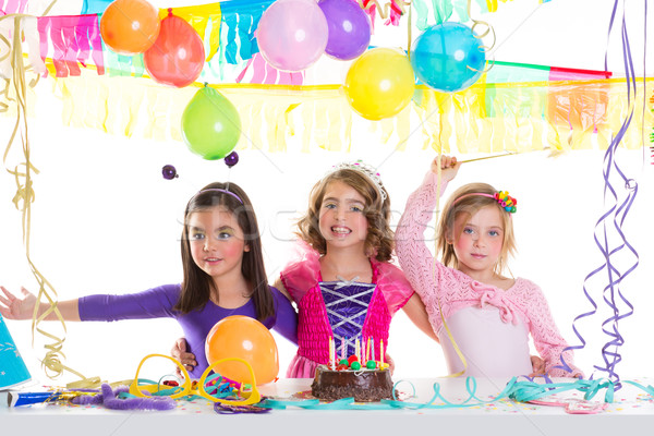 children happy birthday party girls group Stock photo © lunamarina